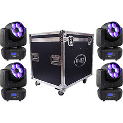OMEZ Four TitanWash Matrix2 Moving Head LED Wash Fixtures with Road Case
