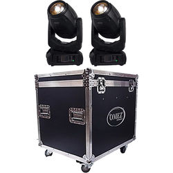 OMEZ TitanBeam 10R Moving Head Beam LED Fixture with Dual 2R Case (2-Pack)