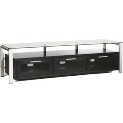 PLATEAU Decor 71 TV Stand (Black Oak Finish, Silver Legs, Clear Glass)