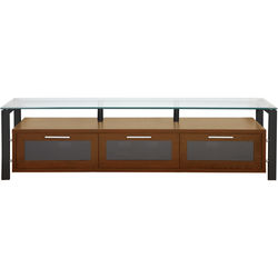 PLATEAU Decor 71 TV Stand (Walnut Finish, Black Legs, Clear Glass)