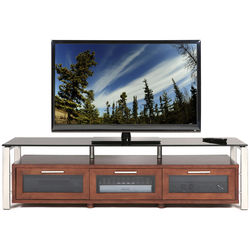 PLATEAU Decor 71 TV Stand (Walnut Finish, Silver Legs, Black Glass)