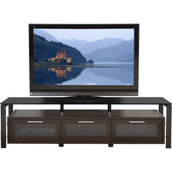 PLATEAU Decor 71 TV Stand (Espresso Finish, Black Legs, Black Glass)