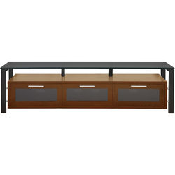PLATEAU Decor 71 TV Stand (Walnut Finish, Black Legs, Black Glass)