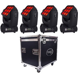 OMEZ Four TitanWash Matrix3 Moving Head LED Fixtures with Road Case