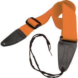 """On-Stage Guitar Strap with Leather Ends (31 to 52"""", Orange)"""