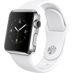 Apple Watch 38mm Smartwatch (Stainless Steel Case, White Sport Band)