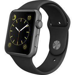 Apple Watch Sport 42mm Smartwatch (2015, Space Gray Aluminum Case, Black Sport Band)