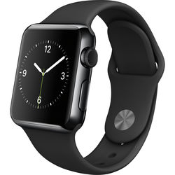 Apple Watch 38mm Smartwatch (Space Black Stainless Steel Case, Black Sport Band)