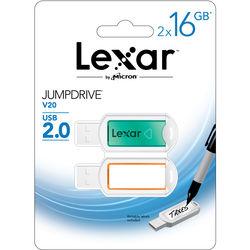 Lexar 16GB JumpDrive V20 USB 2.0 Flash Drive (2-Pack)