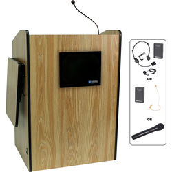 AmpliVox Sound Systems SW3235-MO Wireless Multimedia Presentation Podium (Medium Oak)