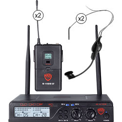 Nady U-2100 Unidirectional UHF Wireless System with 2 x HM-1 Headworn Condenser Microphones