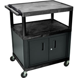 """Luxor 40"""" LP Table 32x24"""" w/Cabinet & 3-Outlet Electric (Black)"""