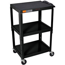 "Luxor W42AE  Metal Open Shelf Utility Cart (24 x 24-42 x 18"") (Black)"