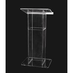 """AmpliVox Sound Systems Clear """"H"""" Style Acrylic Floor Lectern with Shelf"""