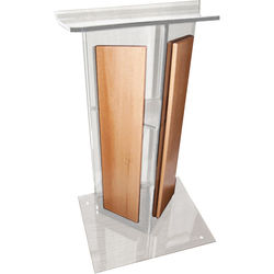 """AmpliVox Sound Systems Clear """"V"""" Style Acrylic and Wood Panels Floor Lectern with Shelf (Medium Oak)"""