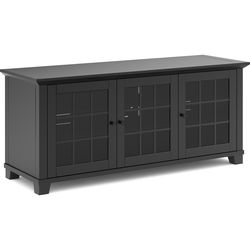 "Salamander Designs Audio/Video Cabinet in Matte Black with Glass Doors (66 x 26 x 20"")"