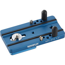 """Novoflex 3.1"""" Arca-Type Quick Release Plate for Q-System with Two Anti-Twist Pins and 1/4"""" & 3/8"""" Screws"""