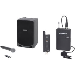 Samson Portable PA Kit with Wireless Lavalier and Handheld Microphone