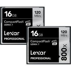 Lexar 16GB CompactFlash Memory Card Professional 800x UDMA 7 (2-Pack)