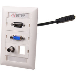 """NTW Pre-Configured Customizable UniMedia Wall Plate with HDMI Pigtail, VGA, 1/8"""" Audio Pass-Through, & One Blank Module"""