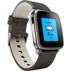 Pebble Time Steel Smartwatch (38mm, Black with Leather Band)