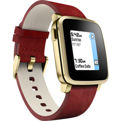 Pebble Time Steel Smart Watch for iOS & Android (Gold/Red Leather) - Factory Reconditioned