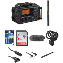Tascam DR-60DMKII 4-Channel Portable Recorder for DSLR & Rode NTG-2 Shotgun Mic Kit with Boompole & Accessories