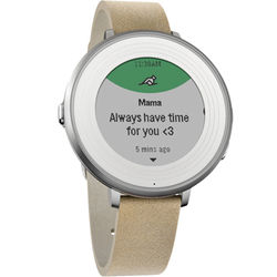 Pebble Time Round Smartwatch (Silver, 14mm Stone Leather Band)