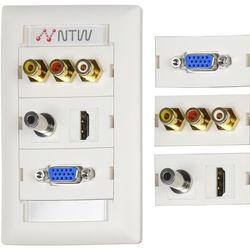 "NTW Pre-Configured Customizable UniMedia Wall Plate with HDMI, VGA, 1/8"" Audio, Composite Video, & RCA Stereo Audio Pass-Through"
