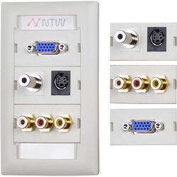 NTW Customizable UniMedia Wall Plate with Personalizable ID Tag (VGA, 3.5mm Audio, S-Video, Composite Video & RCA Stereo Audio Pass Through)