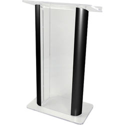 "AmpliVox Sound Systems Contemporary Clear Acrylic Tint and Black Aluminum Panels Lectern (27"" Width)"
