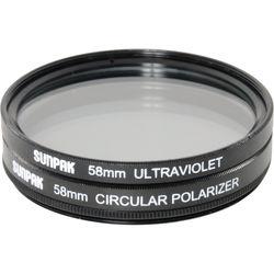 Sunpak 58mm UV and Circular Polarizer Filter Kit