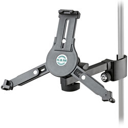 K&M 19791 Universal Tablet Holder Clamp On for Mic Stand (Black)