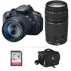 Canon EOS Rebel T5i DSLR Camera Kit with EF-S 18-135mm f/3.5-5.6 and EF 75-300mm f/4.0-5.6 III Lenses