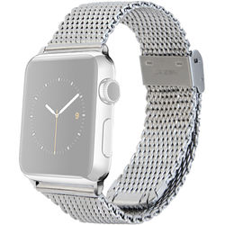 MONOWEAR Mesh Band for 38mm Apple Watch (Silver with Matte Silver Adapter)