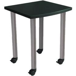 "Argosy Directors Table with Steel Legs (23.4"", Black Laminate, Brushed Steel Legs)"