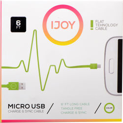 iJOY USB Type-A to Micro-USB Flat Charge & Sync Cable (6', Green)