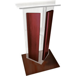 """AmpliVox Sound Systems Clear Acrylic V-Design Lectern with Mahogany Wood Panels & Base (27"""" Width)"""