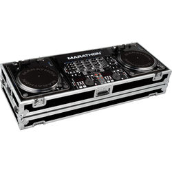 """Marathon Battle-Style Coffin Case for 2 Turntables & 19"""" Mixer with Wheels"""
