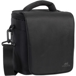 RIVACASE SLR Camera Bag for DSLR Camera Body with Attached Lens, One Additional Lens, and Accessories (Black)
