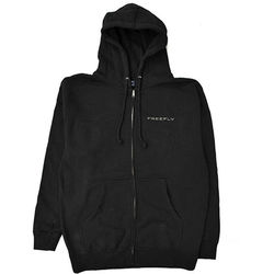 FREEFLY Zippered Hoodie with Front and Back Embroidery (Small, Black)