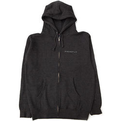 FREEFLY Zippered Hoodie with Front and Back Embroidery (Small, Gray)
