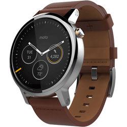 Motorola 2nd Gen Moto 360 46mm Men's Smartwatch (Silver, Cognac Leather Band)
