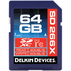 Delkin Devices 64GB 266X SDXC Memory Card (Class 10)