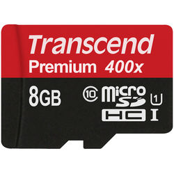 Transcend 8GB microSDHC Memory Card Premium 400x Class 10 UHS-I with microSD Adapter