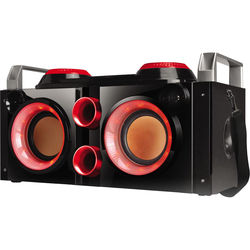 QFX Portable Tailgate Battery Powered PA System Boom Box (Red)