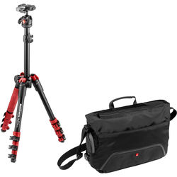 Manfrotto BeFree One Aluminum Tripod (Red) with Large Active Messenger Bag (Black)