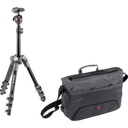 Manfrotto BeFree One Aluminum Tripod (Gray) with Large Active Messenger Bag (Gray)