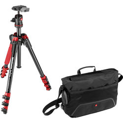 Manfrotto BeFree Compact Travel Aluminum Alloy Tripod (Red) with Large Active Messenger Bag (Black)
