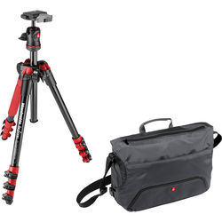 Manfrotto BeFree Compact Travel Aluminum Alloy Tripod (Red) with Large Active Messenger Bag (Gray)